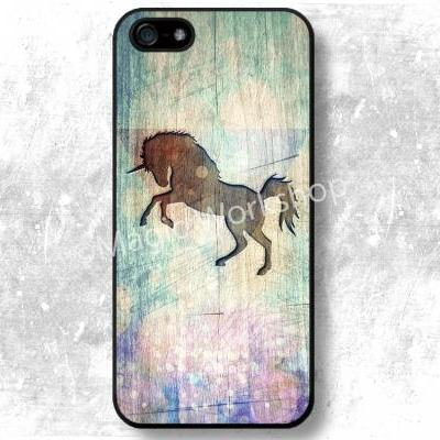 iPhone 4 4S 5 5S 5C 6 6 Plus case, iPhone 4 4S 5 5S 5C 6 6 Plus cover, Unicorn on wood texture